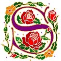 Initial Letter S Style Rosette Needlepoint Canvas (ar7-ros-s)