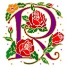 Initial Letter R Style Rosette Needlepoint Canvas (ar7-ros-r)