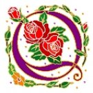 Initial Letter Q Style Rosette Needlepoint Canvas (ar7-ros-q)