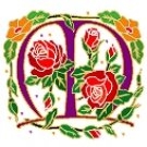 Initial Letter M Style Rosette Needlepoint Canvas (ar7-ros-m)