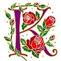 Initial Letter K Style Rosette Needlepoint Canvas (ar7-ros-k)