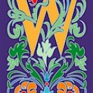 Initial Letter W Style Victorian Needlepoint Canvas (ar7-vic-w)