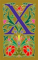 Initial Letter X Style Victorian Needlepoint Canvas (ar7-vic-x)