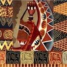 African Folk Art Collage Cushion Needlepoint Canvas (af1-14)