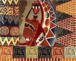 African Folk Art Collage Cushion Needlepoint Canvas (af1-14)