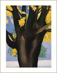 Georgia O'Keeffe Black maple Trunk Yellow Leaves Needlepoint Design by Lena Lawson (ok-08)