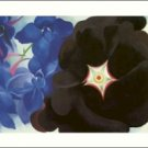 Georgia O'Keeffe Black Hollyhock Blue Larkspur Needlepoint Design by Lena Lawson (ok-010)