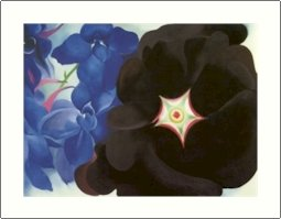Georgia O'Keeffe Black Hollyhock Blue Larkspur Needlepoint Design by Lena Lawson (ok-010)