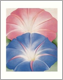 Georgia O'Keeffe Blue Morning Glories Needlepoint Design by Lena Lawson (ok-14)