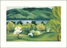 Georgia O'Keeffe Lake George Early Moonrise Needlepoint Design by Lena Lawson (ok-31)