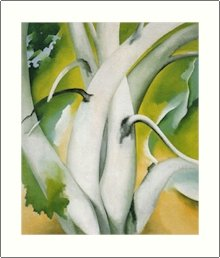 Georgia O'Keeffe White Birch Green Leaves Needlepoint Design by Lena Lawson (ok-69)