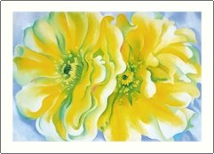 Georgia O'Keeffe Yellow Cactus Flowers Needlepoint Design by Lena Lawson (ok-75)