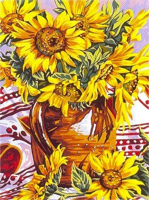Needlepoint Canvas by Margot Sunflowers Pot Le pot de tournesols (margot-153-1335)