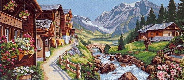 Needlepoint Canvas by Margot Paysage Alpin (margot-173-3098)