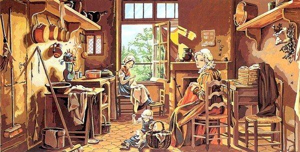 Needlepoint Canvas by SEG Scene d'interieur (seg-932-51)