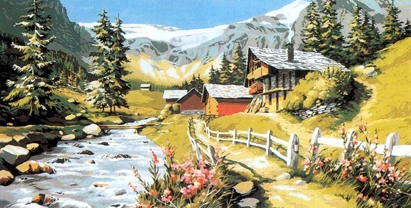 Needlepoint Canvas by SEG Torrent en montagne (seg-932-50)