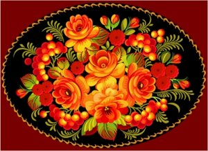 Russian Floral Folk Art Needlepoint Canvas Orange Roses and Berries (rus-049-006)