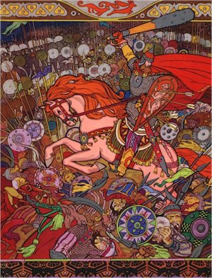 Russian Folk Art Needlepoint Canvas Russian Warrior in Battle with Tatars