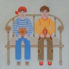 Needlepoint Canvas by Janet Watson Two Buddies Basketball & Football (fdp-JW-123)