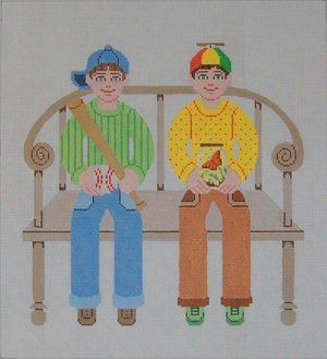 Needlepoint Canvas by Janet Watson Two Buddies Baseball & Butterfly  (fdp-JW-124)
