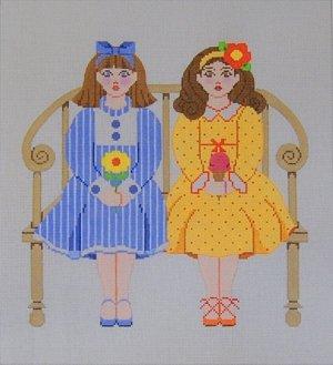 Needlepoint Canvas by Janet Watson Little Misses - Blue & Orangel (fdp-JW-125)