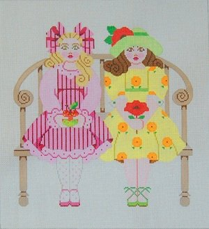 Needlepoint Canvas by Janet Watson Little Misses - Pink & Yellow (fdp-JW-126)