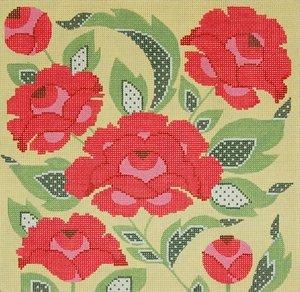 Needlepoint Canvas by Janet Watson Flowers 1 (fdp-JW-137)