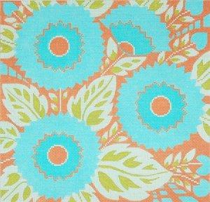9Needlepoint Canvas by Janet Watson Carribean Blue Flowers (fdp-JW-139)