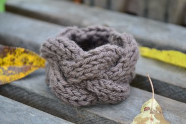 "7""-8"" Brown Cable-Knit Bracelet"