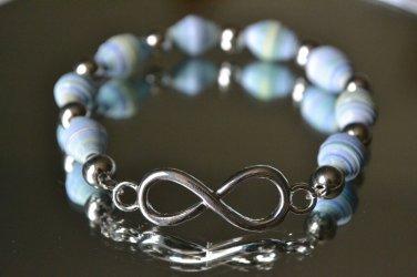 Blue/Green Infinity Paper-Bead Bracelet