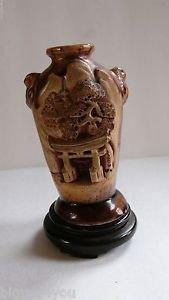 "Vintage Banko Ware Pottery Vase, Japan, 4"" Tall"