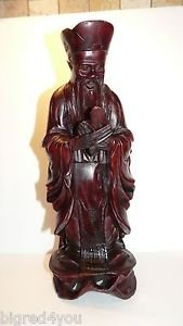 """Vintage carved wood Chinese old man/scholar statue;1900-1940  12"""""""