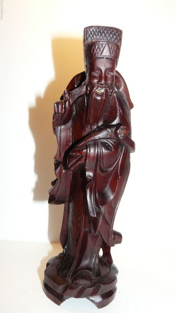 Vintage carved wood Chinese old man/scholar statue;1900-1940