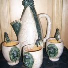 RARE Sculpture Brown Ceramic Pitcher & Mugs by Ernest Patris