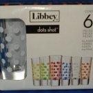 LIBBEY DOTS SHOT GLASSES NIB SET OF SIX
