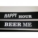 Lot of 2 Bar Mats Rail Rubber Spill Mats, Happy Hour and Beer Me Barmats