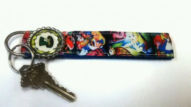 Alice in Wonderland key Chain FOB - Mad Hatter wristlet - Cheshire cat lanyard