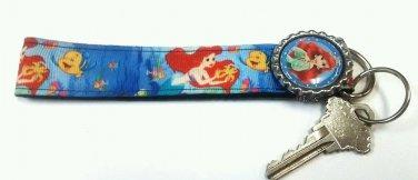 Little Mermaid key Chain FOB - Ariel wristlet - Little Mermaid lanyard