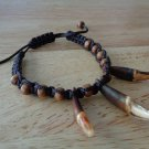Brand New Antiqued Wolf Brush Teeth and Leath Cord Bracelet - Tribal