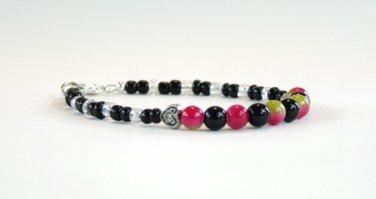 Obsidian and Glass Beaded Bracelet