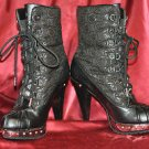 ROCAWEAR BLACK / SILVER TRIM HIGH HEEL LACE BOOTS WOMEN'S SIZE 7