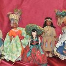 Vintage lot of 6 plastic dolls around the world