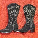 Comi Womens Leather Black Boots Size 7 Fashion Geometric & Medium