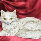"""Homco White Ceramic Yellow Eyed Cat 12"""" X 6"""""""