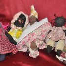 LOT Vintage Collection of Six (6) African American Mammy Rag Dolls.1 reverseable