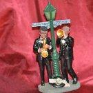 Black Saxaphone & Trumpt Player New Orleans Jazz Bourbon Street Light Figurine