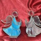 "2 Angel Figurine Stained Glass Artglass Red Silver White 9"" Artisan Made Vintage"