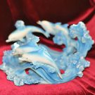 Dolphins Figurines Home Decor for Wall or Table 4 adult &1 baby dolphin 9''Round