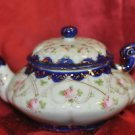 Teapot Blue & Gold Trim with Pink Flower Now with Free Shipping