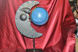"Jeweled Black 1/4 Moon and Globe on Stand 17"" X 9"""